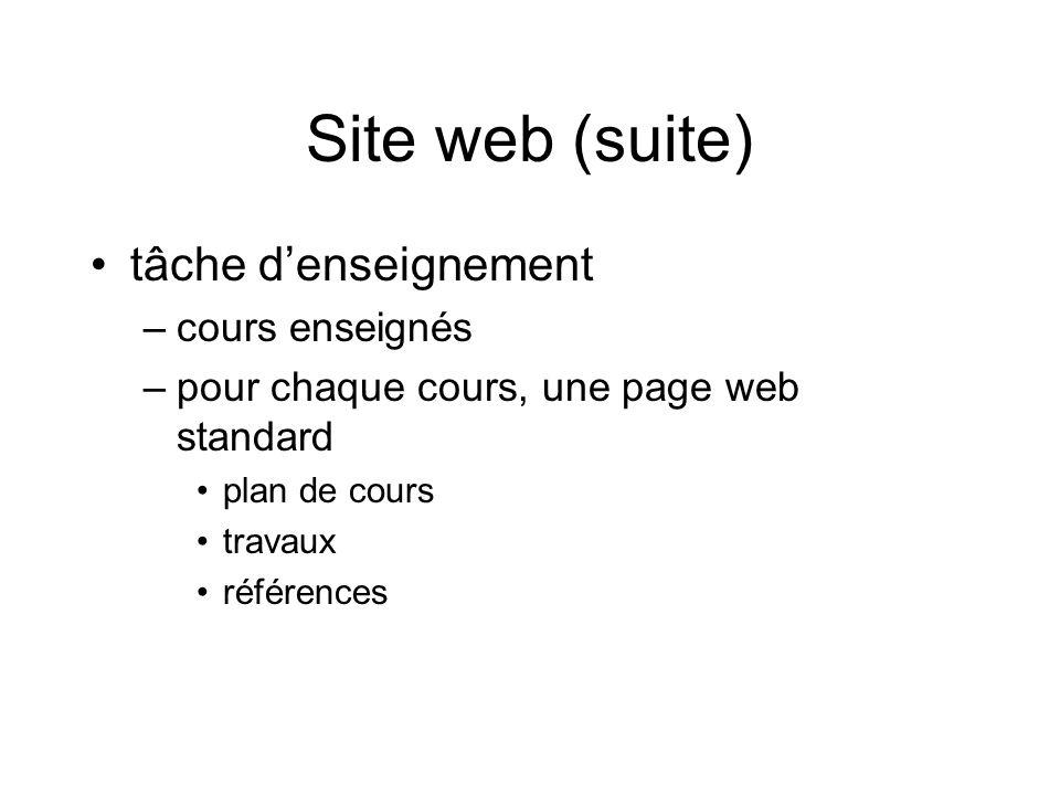 Site web (suite) tâche denseignement –cours enseignés –pour chaque cours, une page web standard plan de cours travaux références
