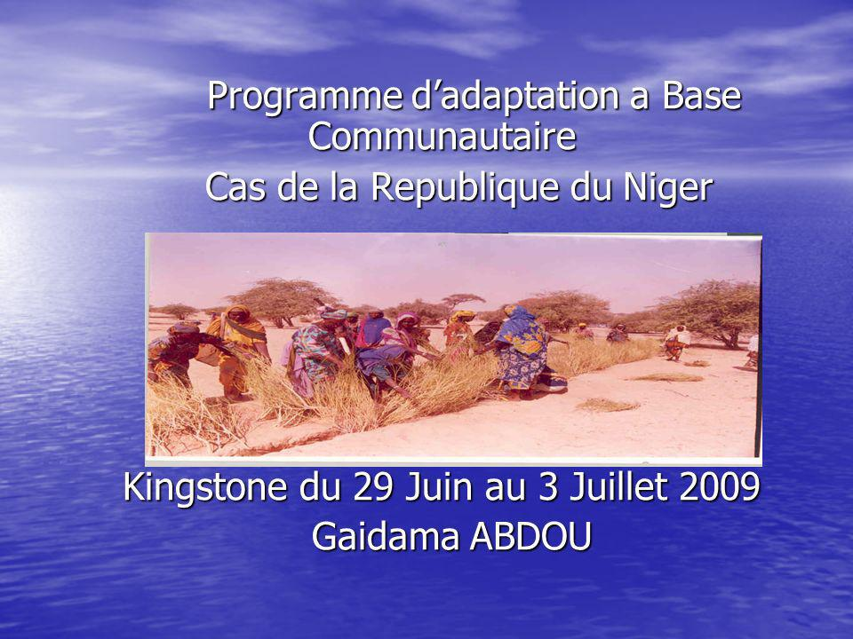 Programme dadaptation a Base Communautaire Programme dadaptation a Base Communautaire Cas de la Republique du Niger Cas de la Republique du Niger Kingstone du 29 Juin au 3 Juillet 2009 Kingstone du 29 Juin au 3 Juillet 2009 Gaidama ABDOU Gaidama ABDOU