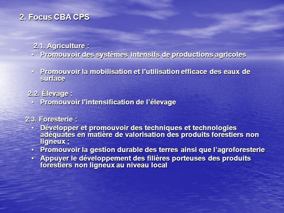 2. Focus CBA CPS 2. Focus CBA CPS 2.1. Agriculture : 2.1.