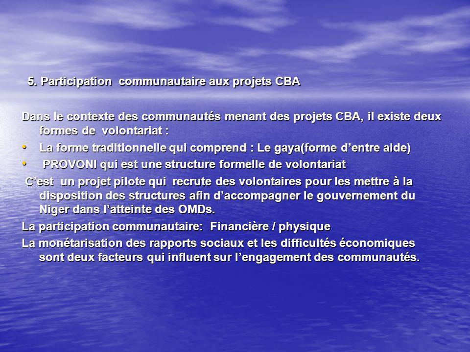 5. Participation communautaire aux projets CBA 5.