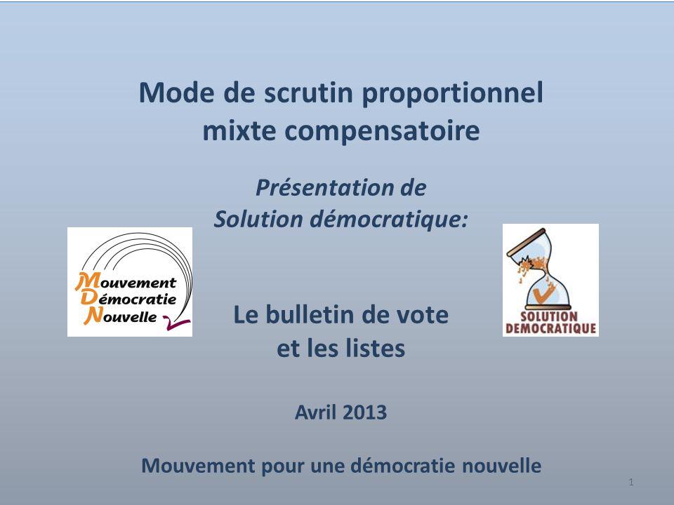 1 Mode de scrutin proportionnel mixte compensatoire Présentation de Solution démocratique: Le bulletin de vote et les listes Avril 2013 Mouvement pour