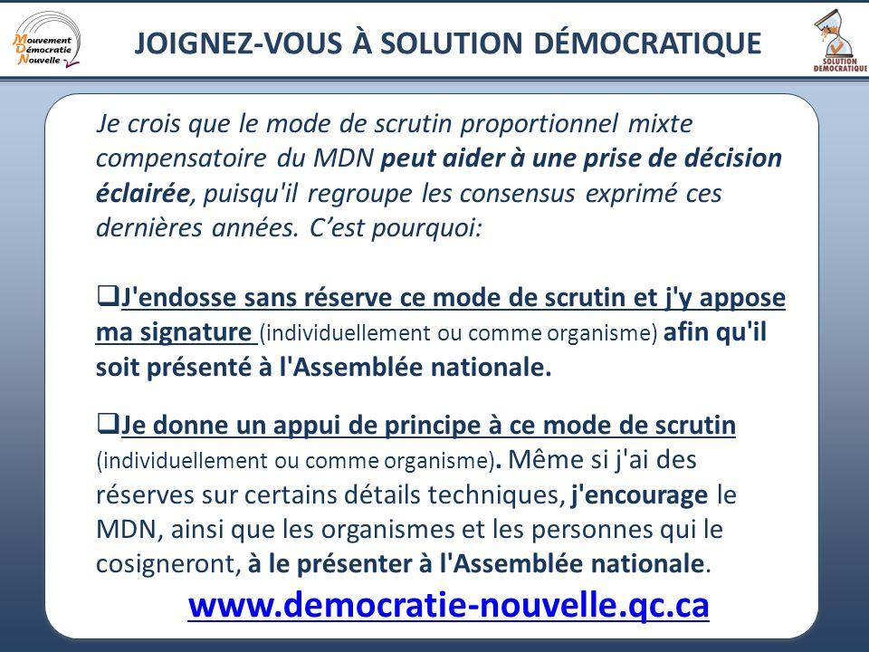 21 JOIGNEZ-VOUS À SOLUTION DÉMOCRATIQUE Je crois que le mode de scrutin proportionnel mixte compensatoire du MDN peut aider à une prise de décision éc