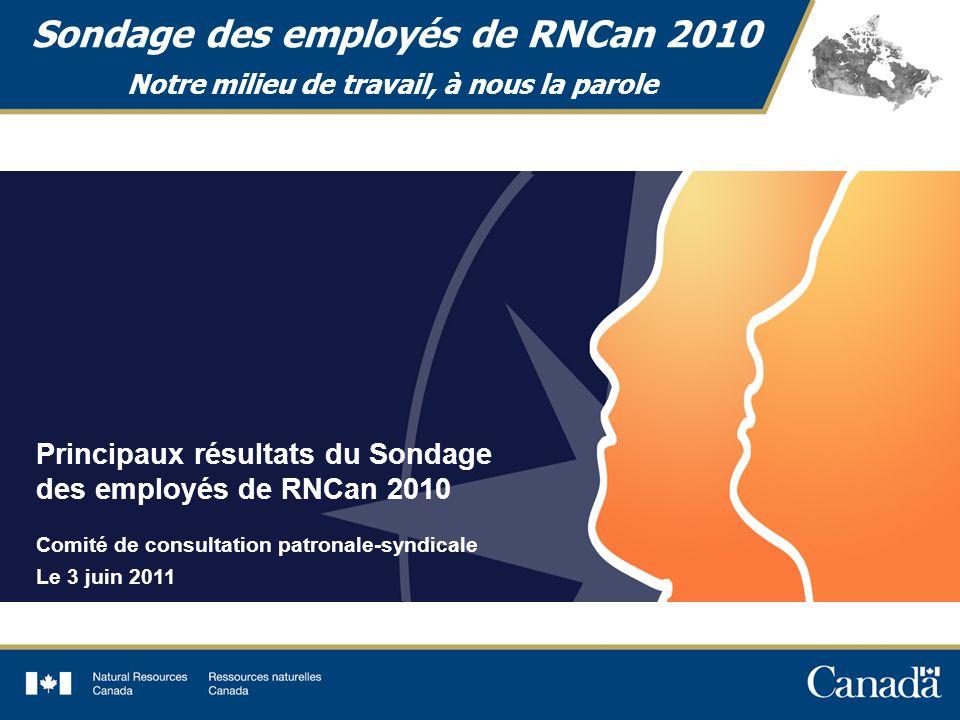 1 Sondage des employés de RNCan 2010 Notre milieu de travail, à nous la parole Principaux résultats du Sondage des employés de RNCan 2010 Comité de consultation patronale-syndicale Le 3 juin 2011