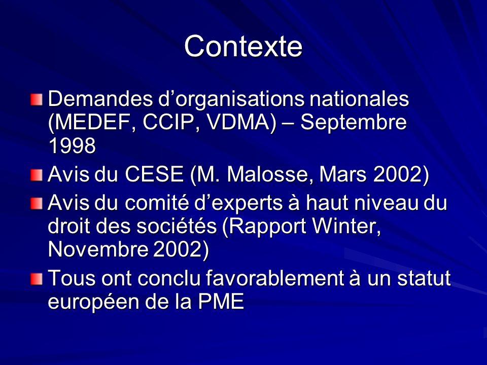 Contexte Demandes dorganisations nationales (MEDEF, CCIP, VDMA) – Septembre 1998 Avis du CESE (M.