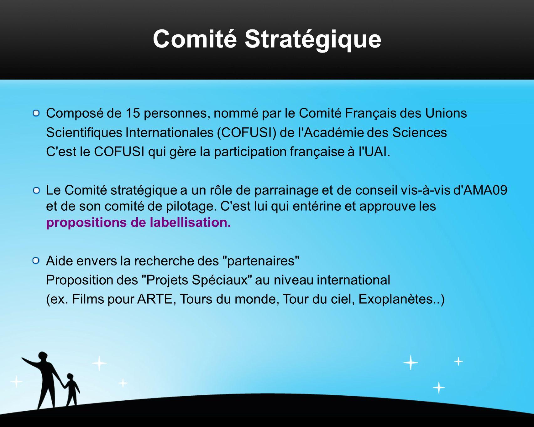 Comité Stratégique Composé de 15 personnes, nommé par le Comité Français des Unions Scientifiques Internationales (COFUSI) de l Académie des Sciences C est le COFUSI qui gère la participation française à l UAI.