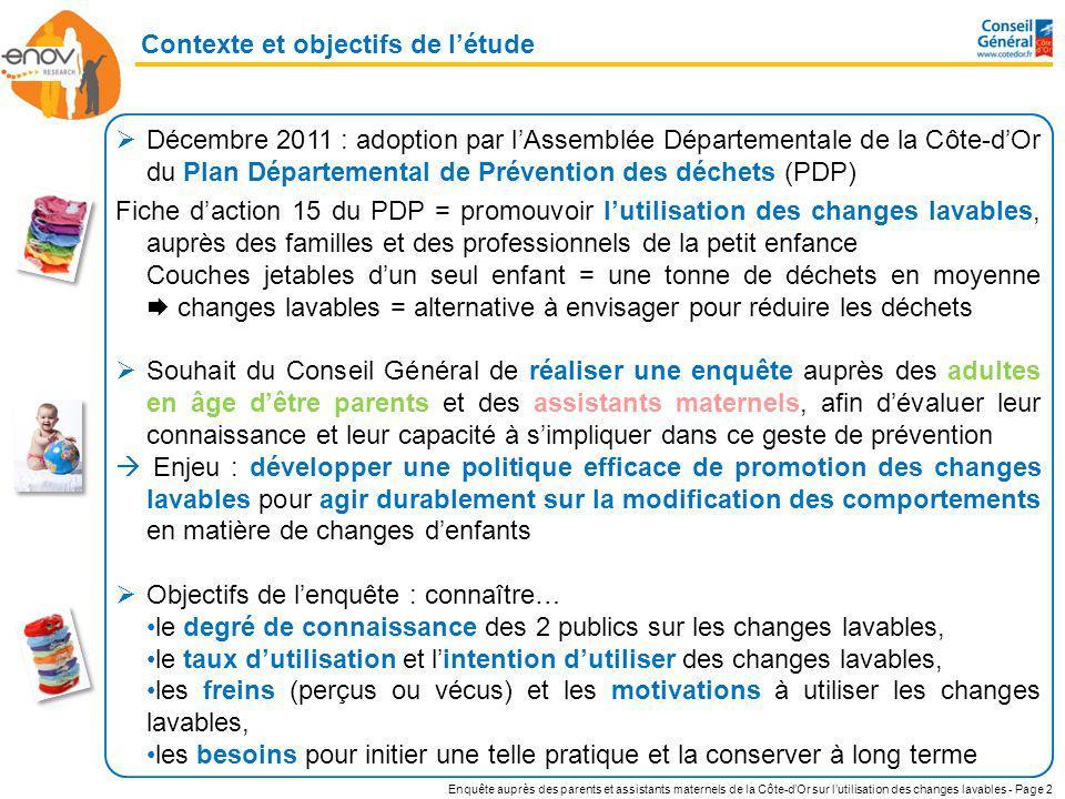 Enquête auprès des parents et assistants maternels de la Côte-dOr sur lutilisation des changes lavables - Page 2 Contexte et objectifs de létude Décem