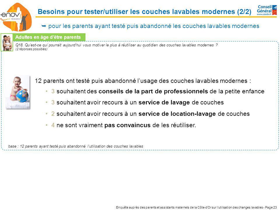 Enquête auprès des parents et assistants maternels de la Côte-dOr sur lutilisation des changes lavables - Page 23 Q18. Quest-ce qui pourrait aujourdhu
