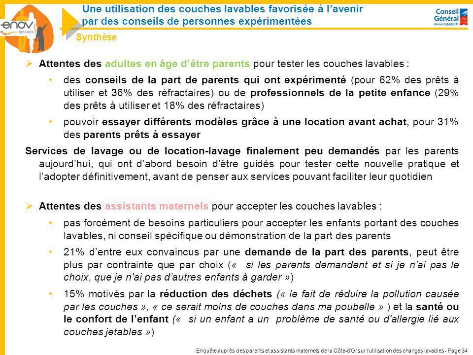 Enquête auprès des parents et assistants maternels de la Côte-dOr sur lutilisation des changes lavables - Page 34 Attentes des adultes en âge dêtre pa