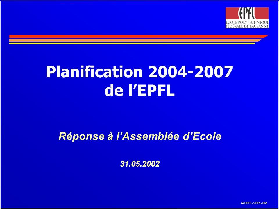 © EPFL-VPPL-PM Planification 2004-2007 de lEPFL Réponse à lAssemblée dEcole 31.05.2002