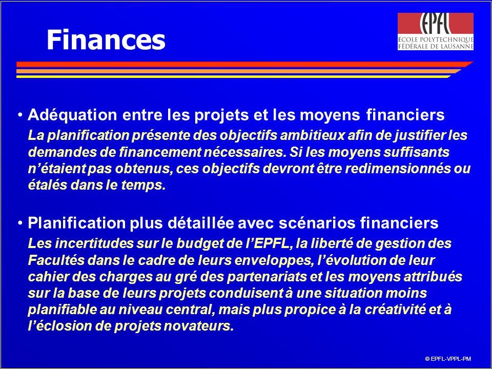 © EPFL-VPPL-PM Finances Adéquation entre les projets et les moyens financiers La planification présente des objectifs ambitieux afin de justifier les demandes de financement nécessaires.