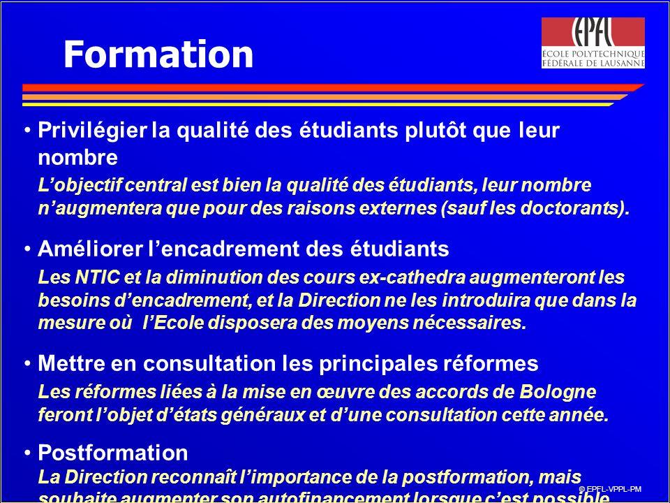 © EPFL-VPPL-PM Formation Privilégier la qualité des étudiants plutôt que leur nombre Lobjectif central est bien la qualité des étudiants, leur nombre naugmentera que pour des raisons externes (sauf les doctorants).