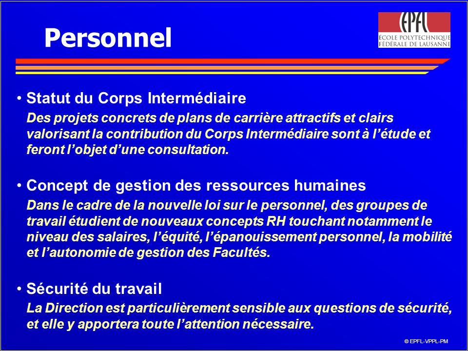© EPFL-VPPL-PM Personnel Statut du Corps Intermédiaire Des projets concrets de plans de carrière attractifs et clairs valorisant la contribution du Corps Intermédiaire sont à létude et feront lobjet dune consultation.