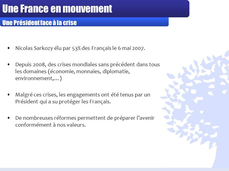 Une France en mouvement Nicolas Sarkozy élu par 53% des Français le 6 mai 2007.