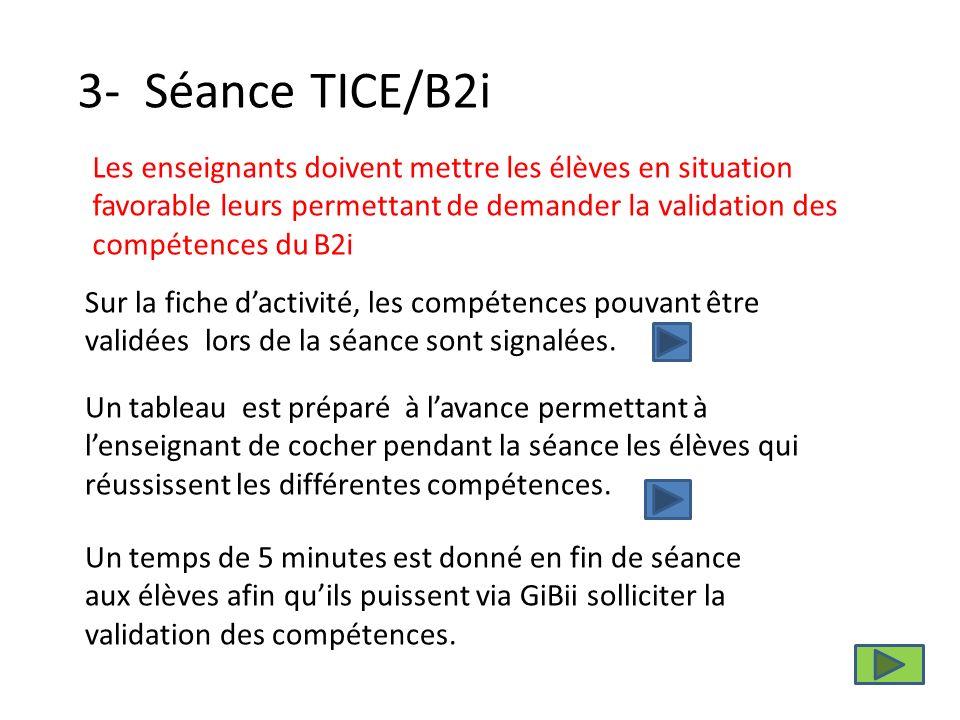 3- Séance TICE/B2i Sur la fiche dactivité, les compétences pouvant être validées lors de la séance sont signalées.