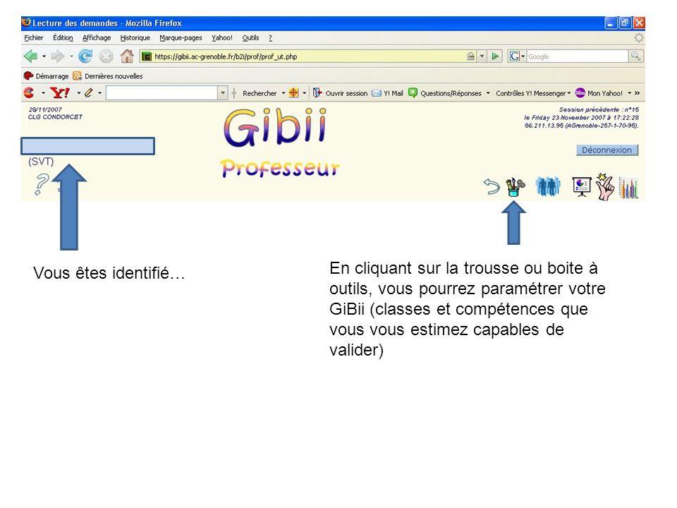 En cliquant sur la trousse ou boite à outils, vous pourrez paramétrer votre GiBii (classes et compétences que vous vous estimez capables de valider) Vous êtes identifié…