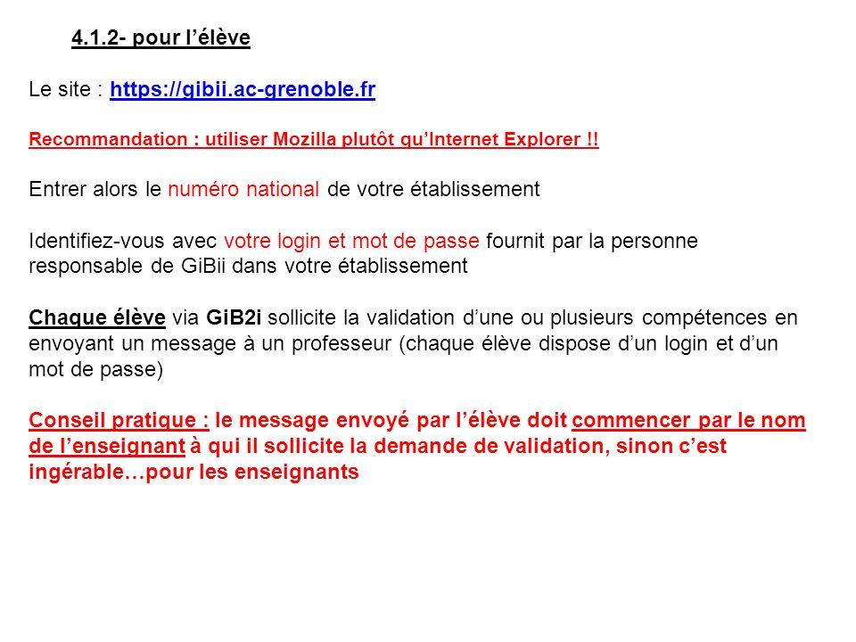 4.1.2- pour lélève Le site : https://gibii.ac-grenoble.frhttps://gibii.ac-grenoble.fr Recommandation : utiliser Mozilla plutôt quInternet Explorer !.