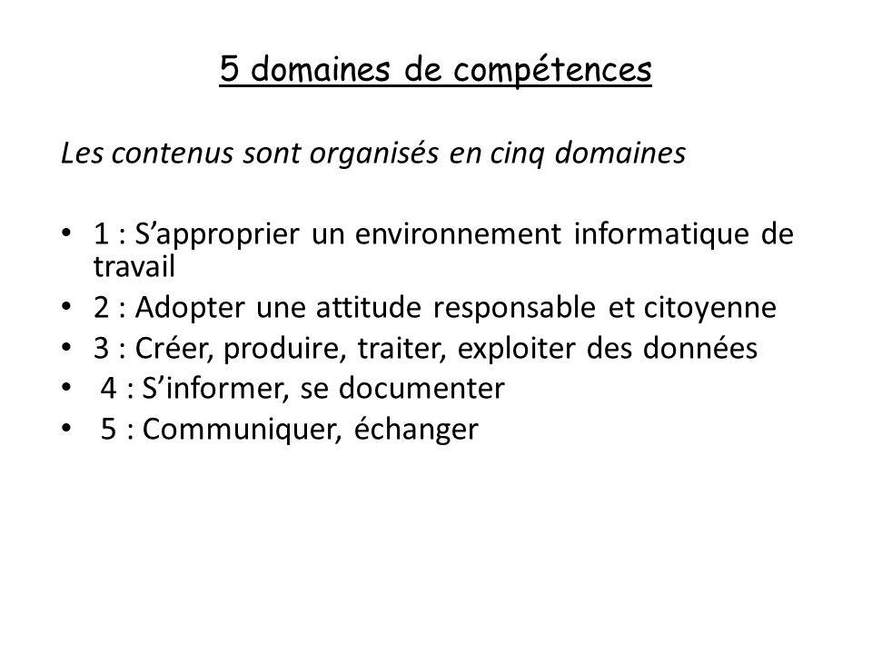 5 domaines de compétences Les contenus sont organisés en cinq domaines 1 : Sapproprier un environnement informatique de travail 2 : Adopter une attitude responsable et citoyenne 3 : Créer, produire, traiter, exploiter des données 4 : Sinformer, se documenter 5 : Communiquer, échanger
