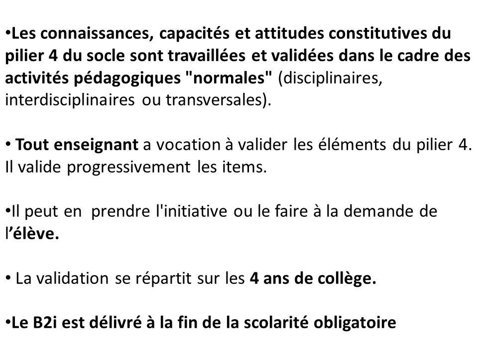 Les connaissances, capacités et attitudes constitutives du pilier 4 du socle sont travaillées et validées dans le cadre des activités pédagogiques normales (disciplinaires, interdisciplinaires ou transversales).