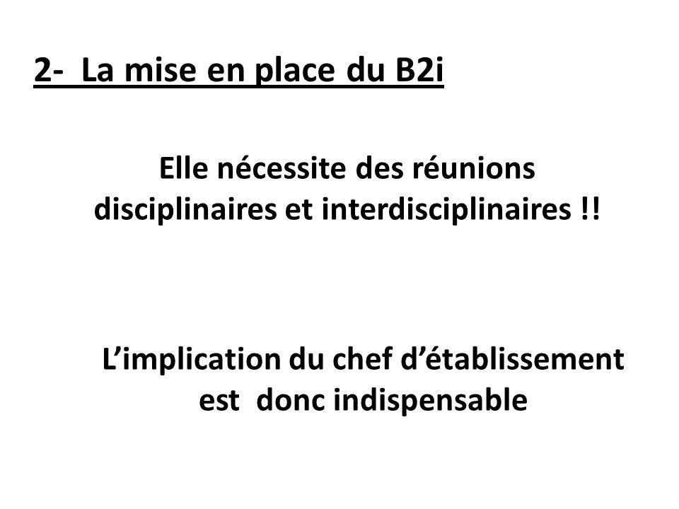 2- La mise en place du B2i Elle nécessite des réunions disciplinaires et interdisciplinaires !.