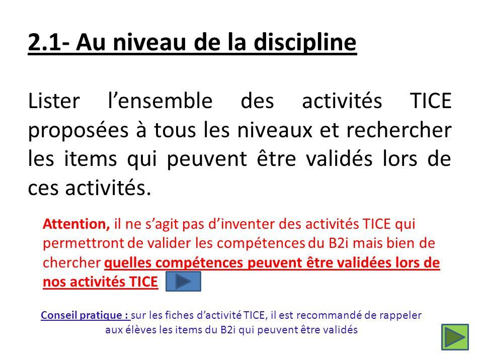 Lister lensemble des activités TICE proposées à tous les niveaux et rechercher les items qui peuvent être validés lors de ces activités.