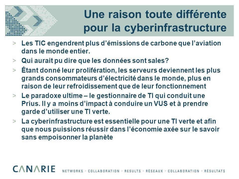 Une raison toute différente pour la cyberinfrastructure >Les TIC engendrent plus démissions de carbone que laviation dans le monde entier.