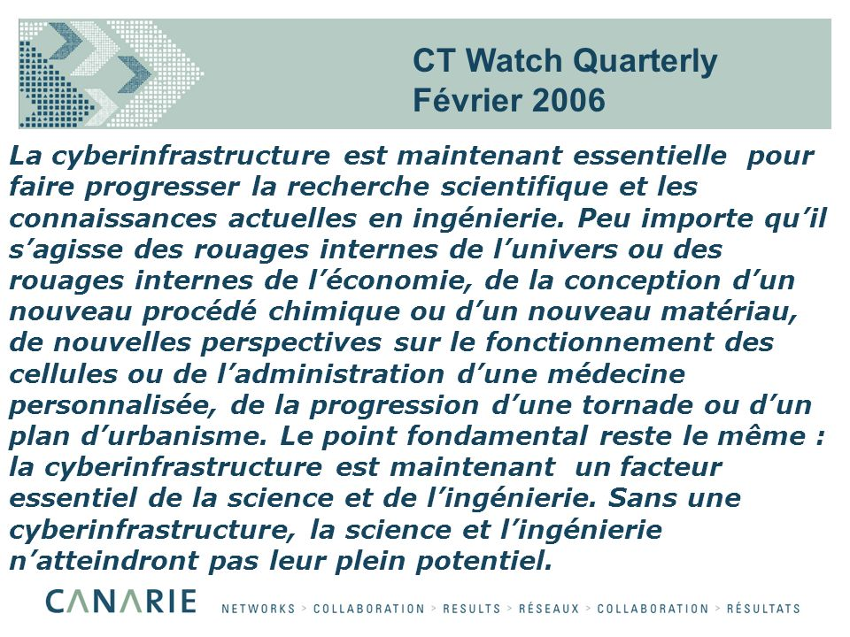 CT Watch Quarterly Février 2006 La cyberinfrastructure est maintenant essentielle pour faire progresser la recherche scientifique et les connaissances actuelles en ingénierie.