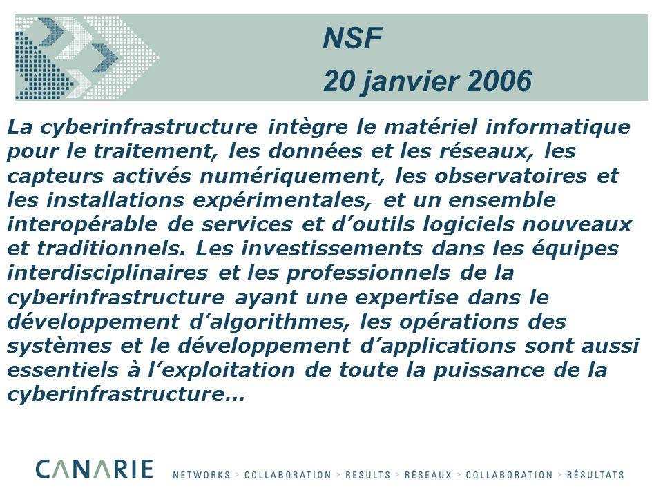 La cyberinfrastructure intègre le matériel informatique pour le traitement, les données et les réseaux, les capteurs activés numériquement, les observatoires et les installations expérimentales, et un ensemble interopérable de services et doutils logiciels nouveaux et traditionnels.
