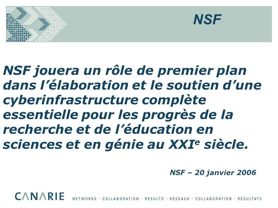 NSF jouera un rôle de premier plan dans lélaboration et le soutien dune cyberinfrastructure complète essentielle pour les progrès de la recherche et de léducation en sciences et en génie au XXI e siècle.