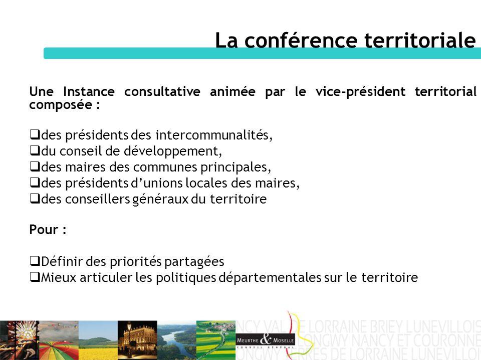 Une Instance consultative animée par le vice-président territorial composée : des présidents des intercommunalités, du conseil de développement, des m