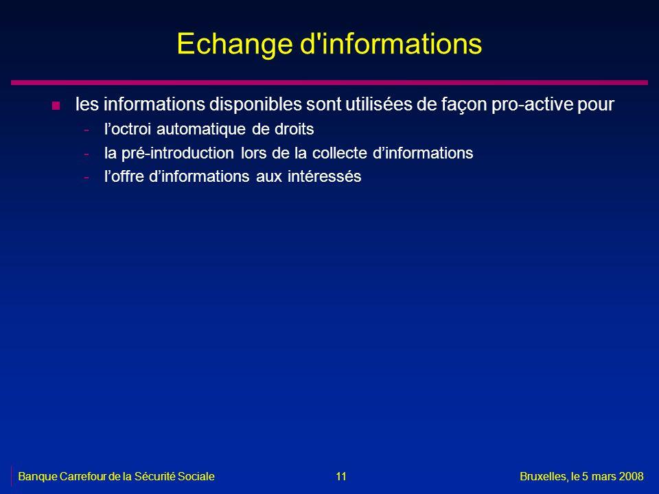 Banque Carrefour de la Sécurité SocialeBruxelles, le 5 mars 2008 11 Echange d'informations n les informations disponibles sont utilisées de façon pro-