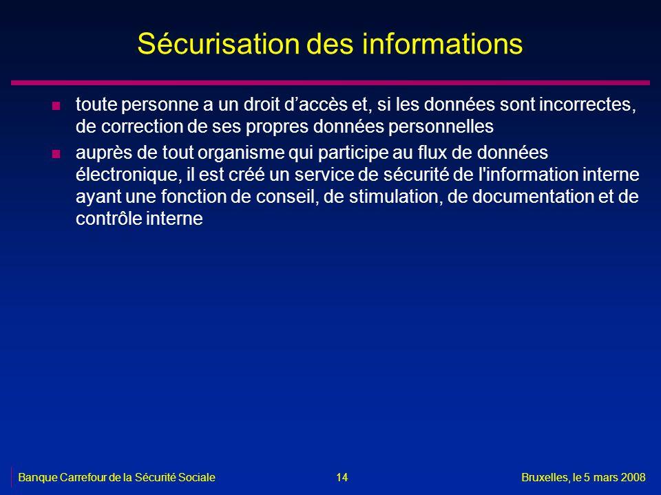 Banque Carrefour de la Sécurité SocialeBruxelles, le 5 mars 2008 14 Sécurisation des informations n toute personne a un droit daccès et, si les donnée