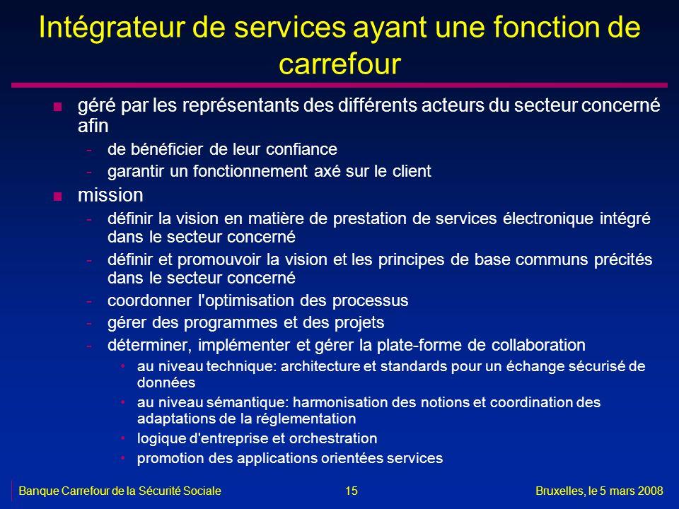 Banque Carrefour de la Sécurité SocialeBruxelles, le 5 mars 2008 15 Intégrateur de services ayant une fonction de carrefour n géré par les représentan