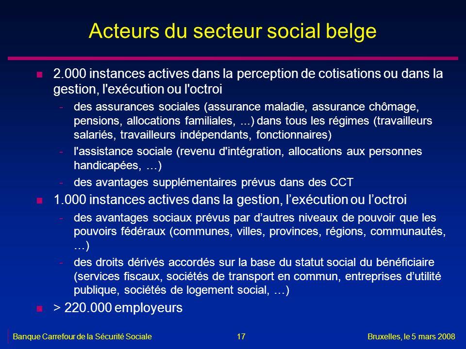 Banque Carrefour de la Sécurité SocialeBruxelles, le 5 mars 2008 17 Acteurs du secteur social belge n 2.000 instances actives dans la perception de co