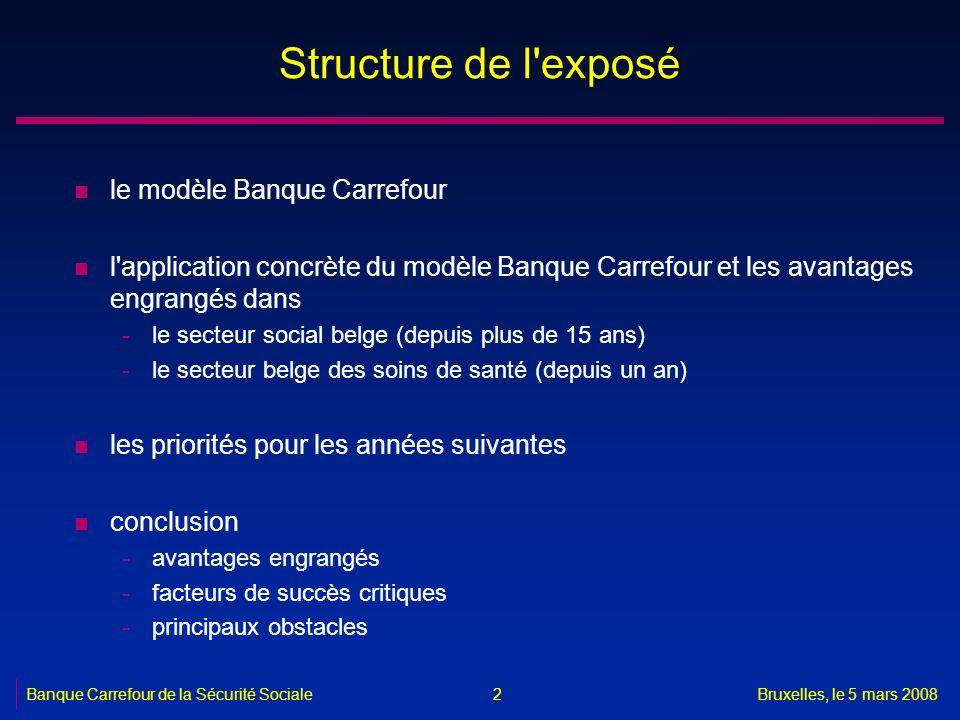 Bruxelles, le 5 mars 2008 2 Structure de l'exposé n le modèle Banque Carrefour n l'application concrète du modèle Banque Carrefour et les avantages en