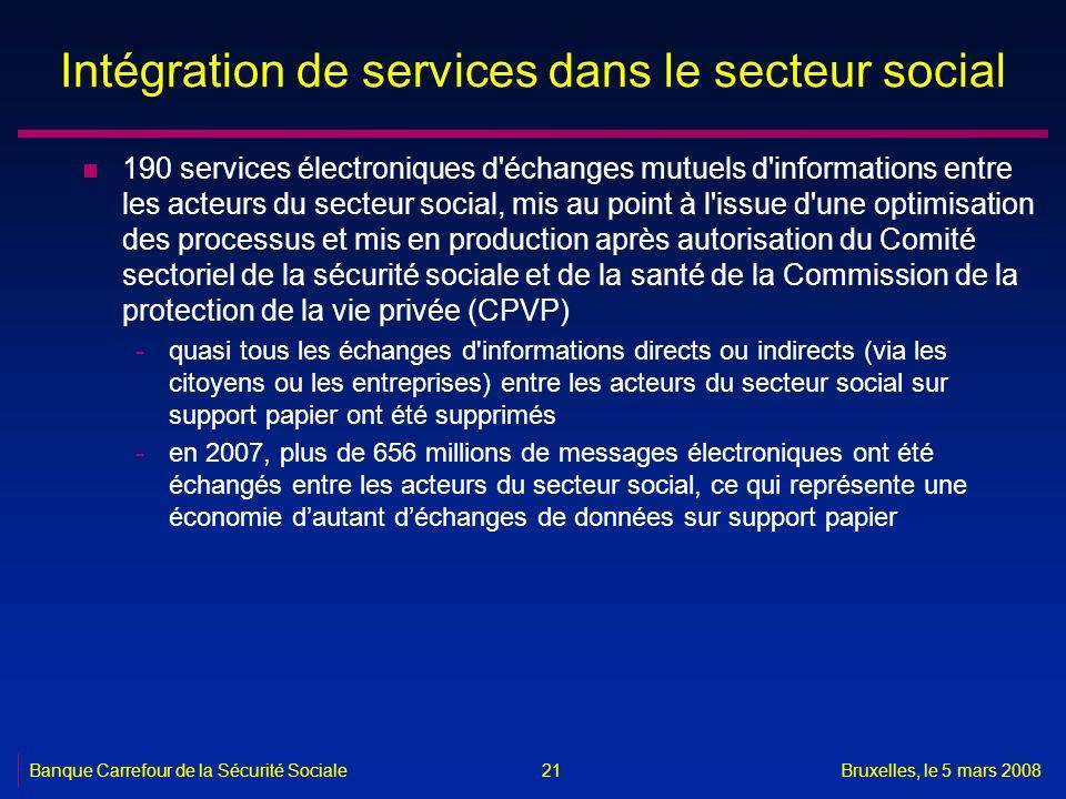 Banque Carrefour de la Sécurité SocialeBruxelles, le 5 mars 2008 21 Intégration de services dans le secteur social n 190 services électroniques d'écha