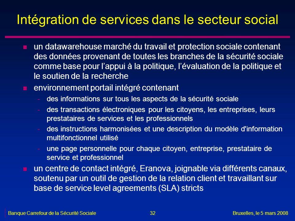 Banque Carrefour de la Sécurité SocialeBruxelles, le 5 mars 2008 32 Intégration de services dans le secteur social n un datawarehouse marché du travai