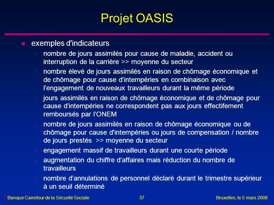 Banque Carrefour de la Sécurité SocialeBruxelles, le 5 mars 2008 37 Projet OASIS n exemples d'indicateurs -nombre de jours assimilés pour cause de mal
