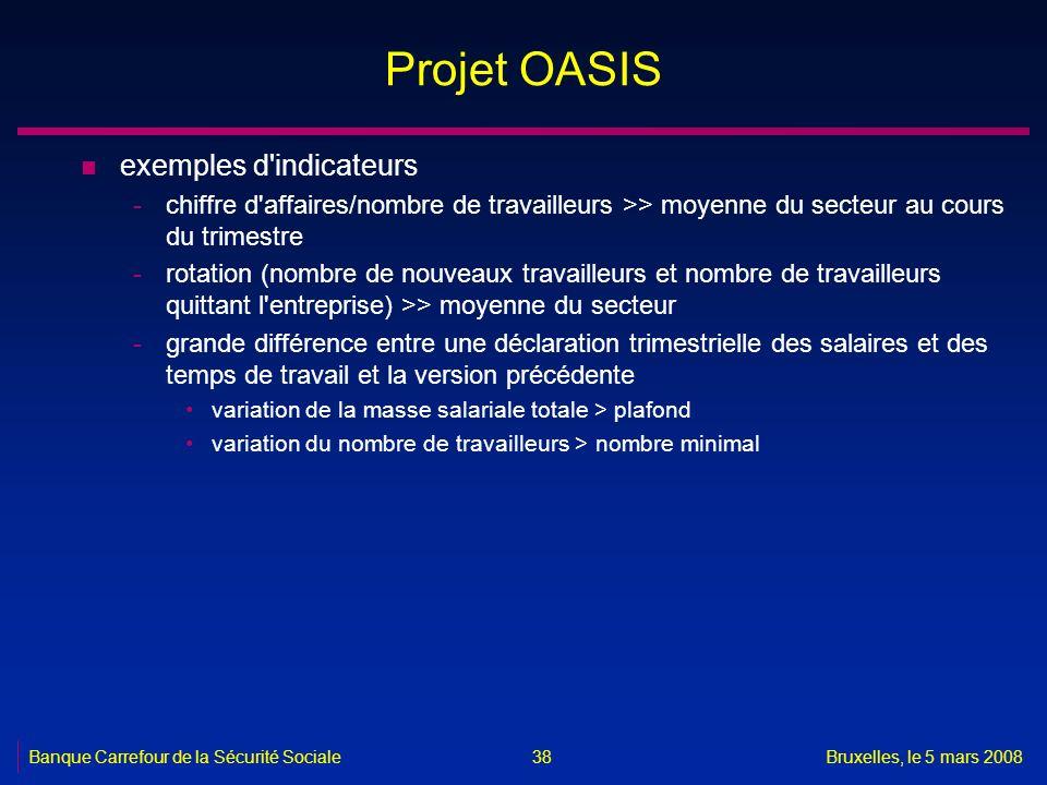 Banque Carrefour de la Sécurité SocialeBruxelles, le 5 mars 2008 38 Projet OASIS n exemples d'indicateurs -chiffre d'affaires/nombre de travailleurs >