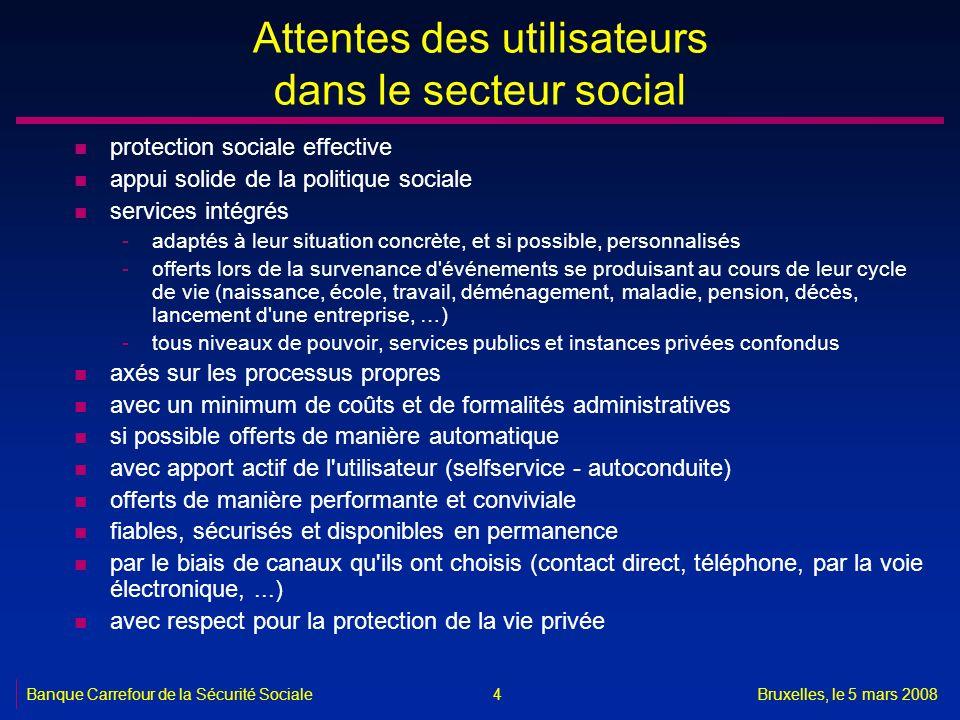 Banque Carrefour de la Sécurité SocialeBruxelles, le 5 mars 2008 4 Attentes des utilisateurs dans le secteur social n protection sociale effective n a