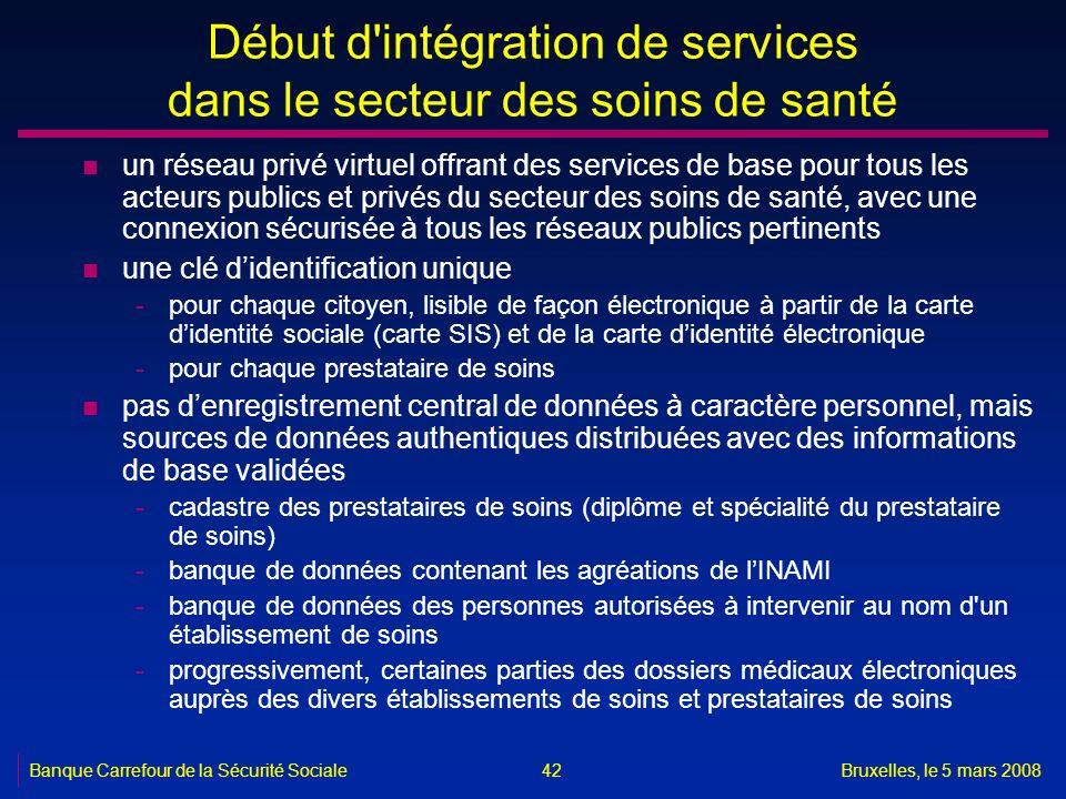 Banque Carrefour de la Sécurité SocialeBruxelles, le 5 mars 2008 42 Début d'intégration de services dans le secteur des soins de santé n un réseau pri