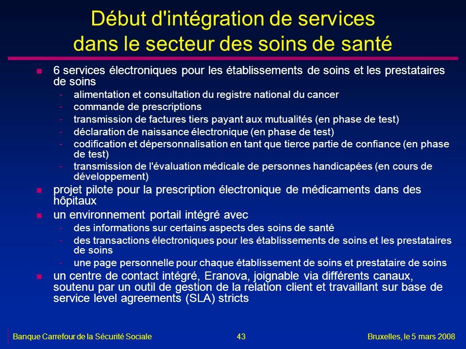 Banque Carrefour de la Sécurité SocialeBruxelles, le 5 mars 2008 43 Début d'intégration de services dans le secteur des soins de santé n 6 services él