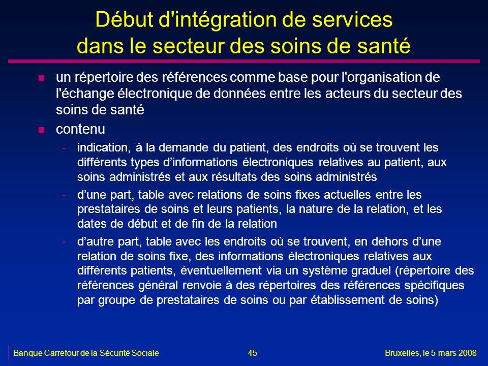 Banque Carrefour de la Sécurité SocialeBruxelles, le 5 mars 2008 45 Début d'intégration de services dans le secteur des soins de santé n un répertoire