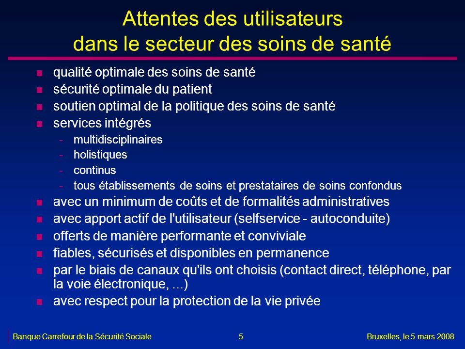 Banque Carrefour de la Sécurité SocialeBruxelles, le 5 mars 2008 5 Attentes des utilisateurs dans le secteur des soins de santé n qualité optimale des