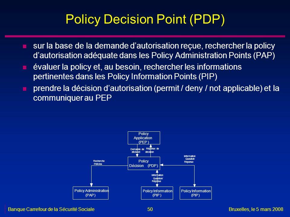 Banque Carrefour de la Sécurité SocialeBruxelles, le 5 mars 2008 50 Policy Decision Point (PDP) n sur la base de la demande dautorisation reçue, reche