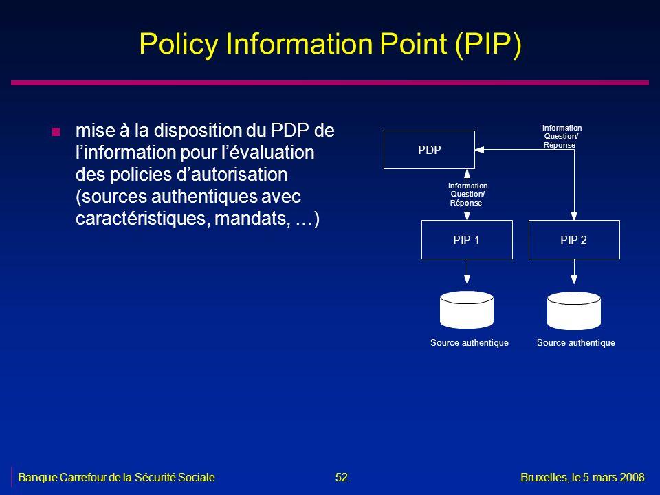 Banque Carrefour de la Sécurité SocialeBruxelles, le 5 mars 2008 52 Policy Information Point (PIP) n mise à la disposition du PDP de linformation pour