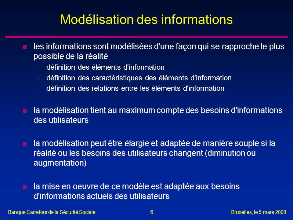 Banque Carrefour de la Sécurité SocialeBruxelles, le 5 mars 2008 6 Modélisation des informations n les informations sont modélisées d'une façon qui se