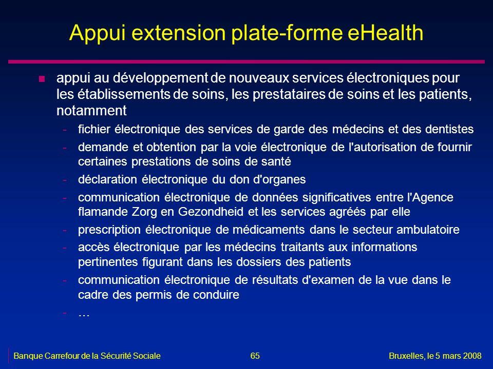 Banque Carrefour de la Sécurité SocialeBruxelles, le 5 mars 2008 65 Appui extension plate-forme eHealth n appui au développement de nouveaux services
