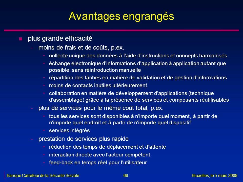 Banque Carrefour de la Sécurité SocialeBruxelles, le 5 mars 2008 66 Avantages engrangés n plus grande efficacité -moins de frais et de coûts, p.ex. co