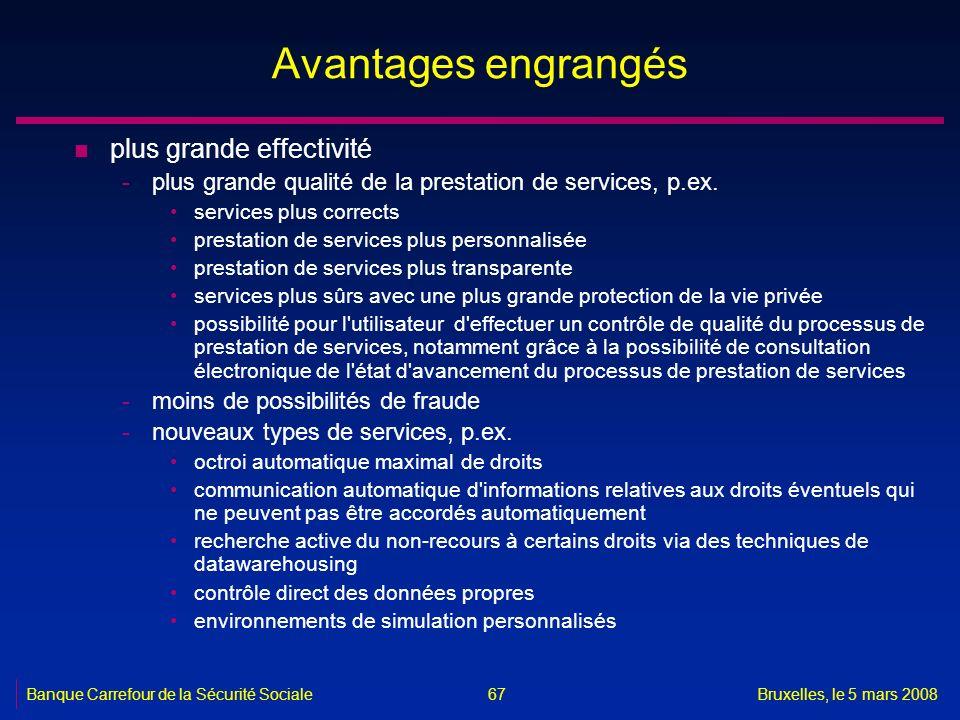 Banque Carrefour de la Sécurité SocialeBruxelles, le 5 mars 2008 67 Avantages engrangés n plus grande effectivité -plus grande qualité de la prestatio