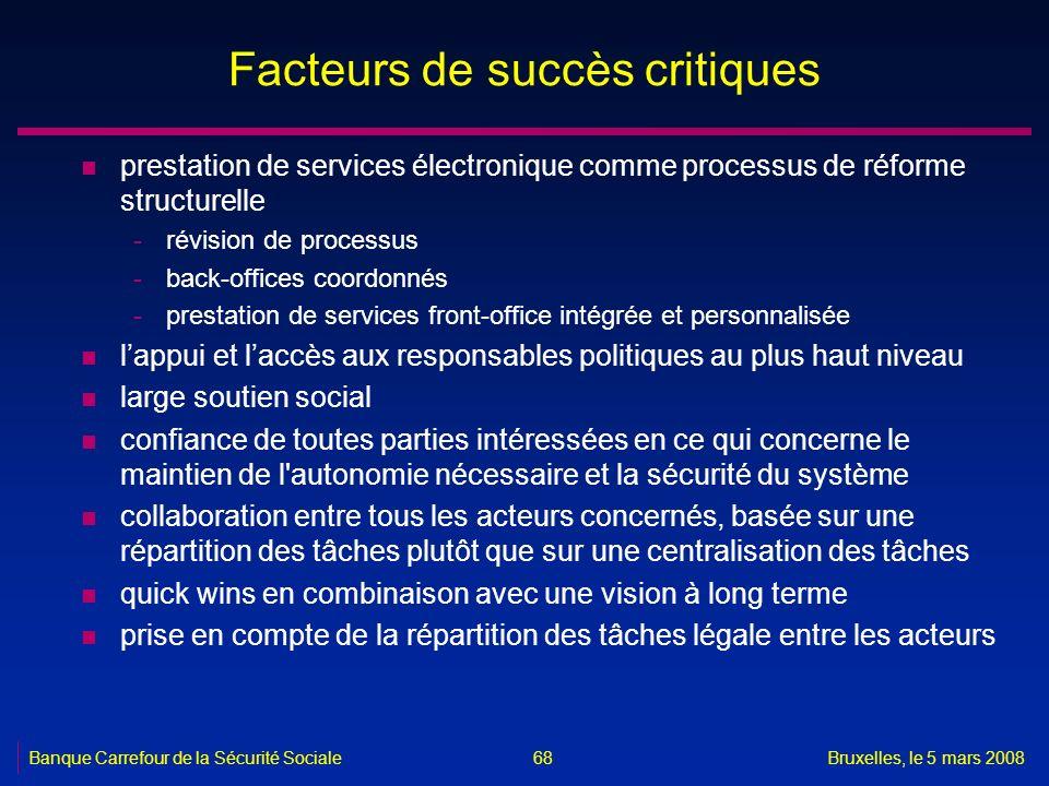 Banque Carrefour de la Sécurité SocialeBruxelles, le 5 mars 2008 68 Facteurs de succès critiques n prestation de services électronique comme processus